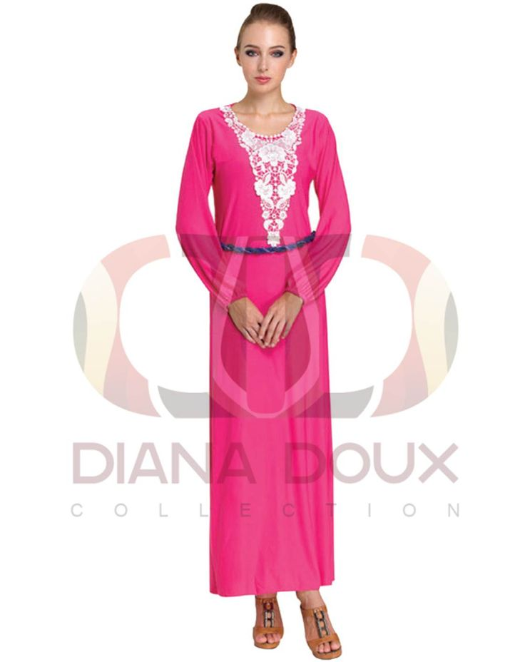 OWJ123-38  Floral Lace Crochet Collar Jubah Dress  Color: PINK Size: FREE SIZE Weight: 430g Material: Lace + Lycra Measurement: > Shoulder: 35cm  > Sleeve: 58cm  > Length: 130cm  > Bust: 84-100cm Category: Jubah Dress Type: Ready Stock