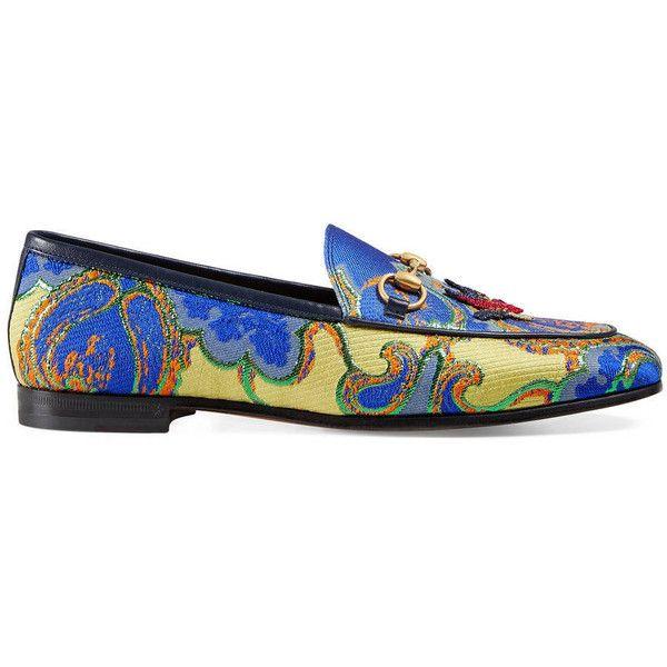 Gucci Jordaan Metallic Leather Loafer ($760) ❤ liked on Polyvore featuring shoes, loafers, moccasins & loafers, women, loafers moccasins, metallic shoes, horsebit loafers, leather sole shoes and leather loafers