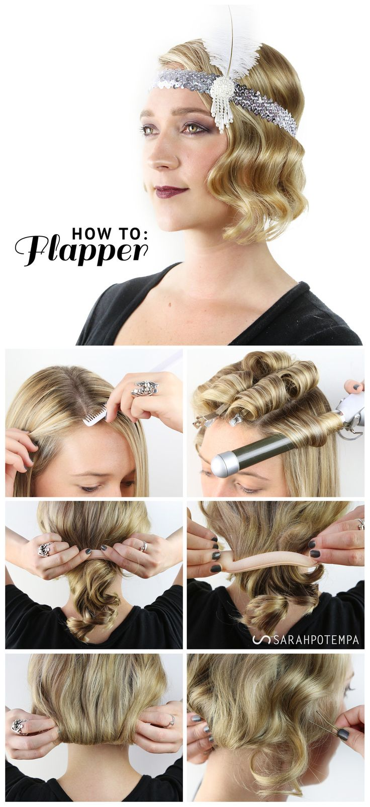 HALLOWEEN LOOK: FABULOUS FLAPPER. Finger waves using the Sarah Potempa Beachwaver Pro | SARAHPOTEMPA Hairstyling Tools