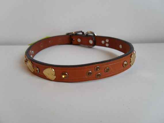 Gold Hearts Bling Leather Dog Collar by StarBoundWestern on Etsy, $35.00