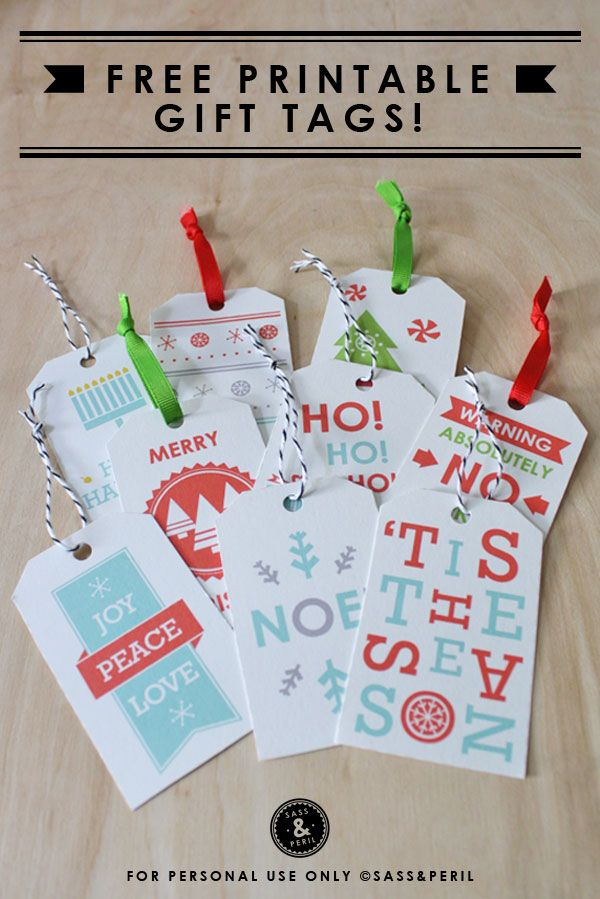 very fun free printable gift tags! Adorable