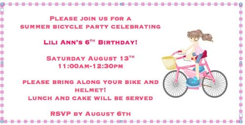 Bike Party Invite Great Idea for a 6 Year Old Birthday Party: A Bike Decorating Party!