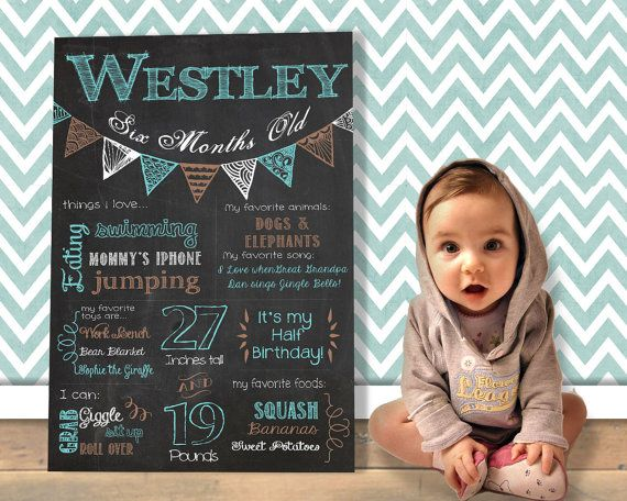 Baby Milestone Chalkboard Poster / Printable / Monthly Update / Baby Photo Prop
