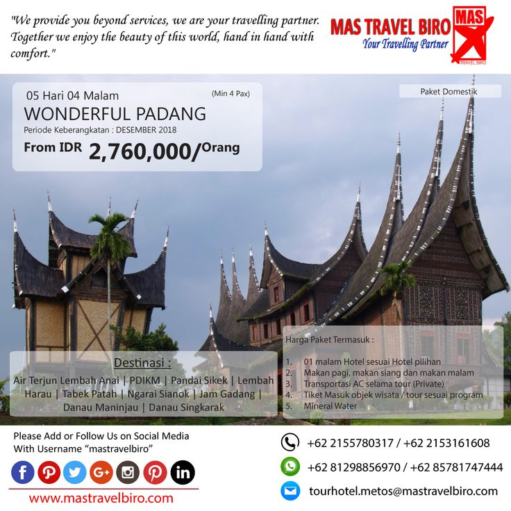 Promo Tour WONDERFUL PADANG, Yuks di pilih masih banyak lagi promo Tour Domestik dan Internasional😊 (Paket tour belum termasuk tiket pesawat)  Beli tiket pesawat & KAI, booking hotel dan beli paket tour diMas Travel Biro ajaa.  #mastravelbiro #promotiket #travelservices #tiketpesawat #travelagent #tourtravel #travelindonesia #opentrip #familytour