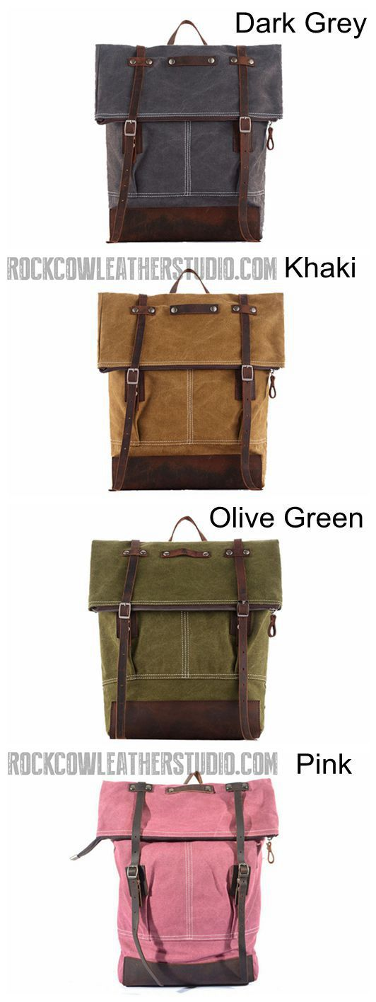 Waxed Canvas Backpack with Full Grain Leather, School Backpack, Vintage Rucksack 1004