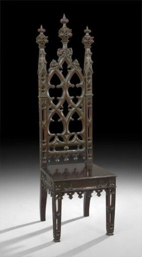 Rare and Important American Gothic Revival Oak Hall Chair, mid-19th century