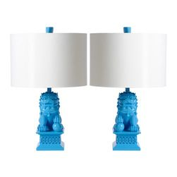 Barbara Cosgrove - Barbara Cosgrove Foo Dog Caribbean Blue Mini Table Lamp Set of 2 - Barbara Cosgrove updates symbolic foo dogs on these mini table lamps. The Asian-inspired light fixtures guard in style with a modern Caribbean blue finish and white shade. Set of 2 (1 right and 1 left version); Cast resin; Gloss white parchment drum shade; Clear cord; Each lamp: 1 60W bulb (not included)