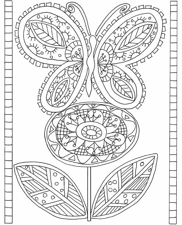 butterfly flower doodle coloring page from the live green coloring book by dover
