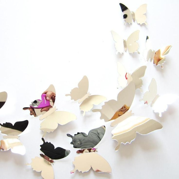 DIY 3D Mirror Butterfly Wedding Party Decor Wall Stickers #DIYHomeDecorGold