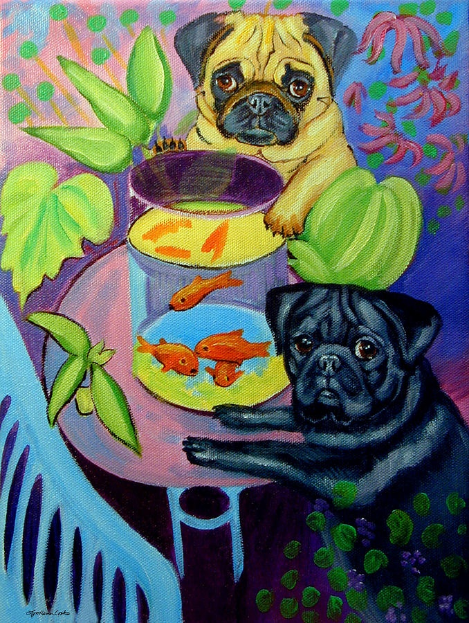 The Goldfish Bowl - Pug Painting - The Goldfish Bowl - Pug Fine Art Print