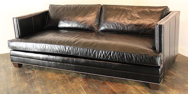 """Special Order Phoenix Sofa with Bench Seat Cushion Option. Upholstered in Brompton Black with 1/2"""" black nickel nailhead trim. This sofa has more than 1000 nailheads all applied one at a time. #CascoBayFurniture #LeatherSofa #HomeDecor"""