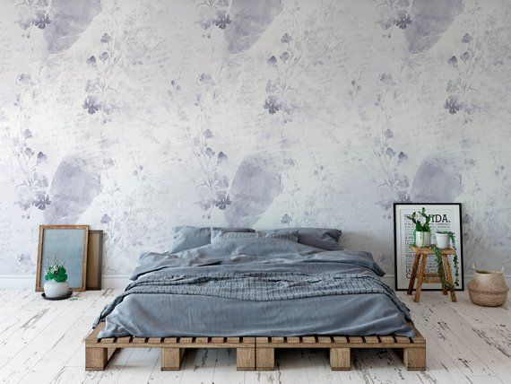 Watercolor Flower Bouquet Wall Mural Boho Removable Etsy Wallpaper Accent Wall Wall Murals Floral Wallpaper