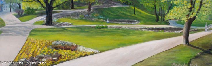 "Oil painting ""Bastion Hill in Riga"", 120*40 cm. Artist - Radmila Filimonova"