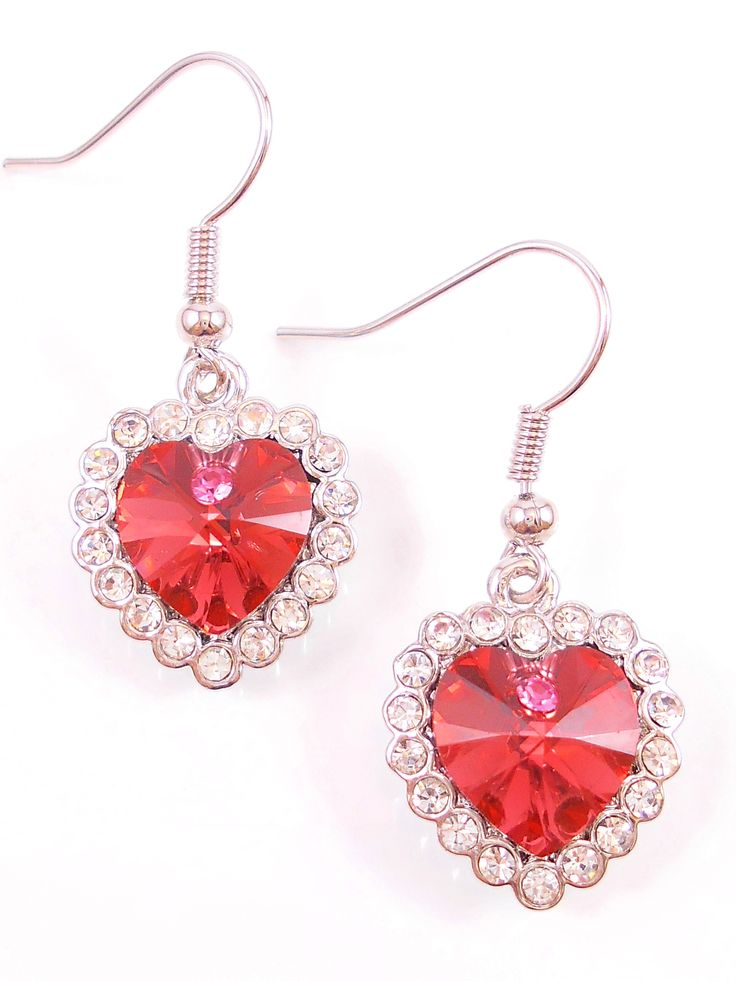 Stunning red crystal hearts