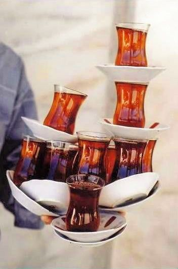 Turkish Tea in Istanbul - I've never seen such a balancing act!!