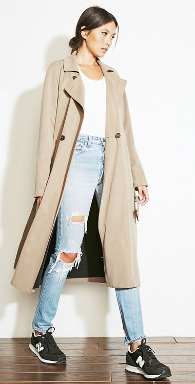Women fashion style outfit clothing coat brown top white blue jeans sneakers casual street spring autumn