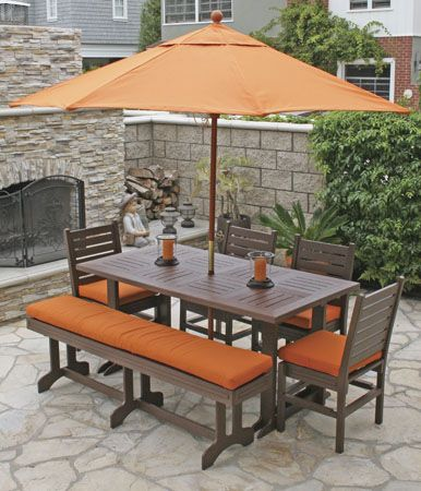 patio with burnt orange colors outdoor dining