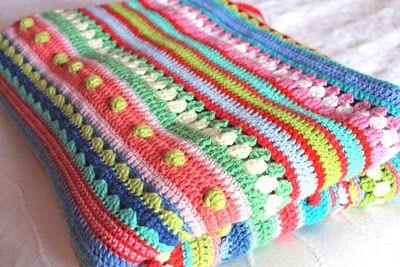 crochet mixed stripey blanket http://littlewoollie.blogspot.com/2011/10/mixed-stripey-blanket-end-tadah.html