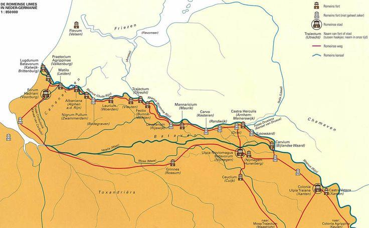 Kaart: de Romeinse Limes in Neder-Germanië