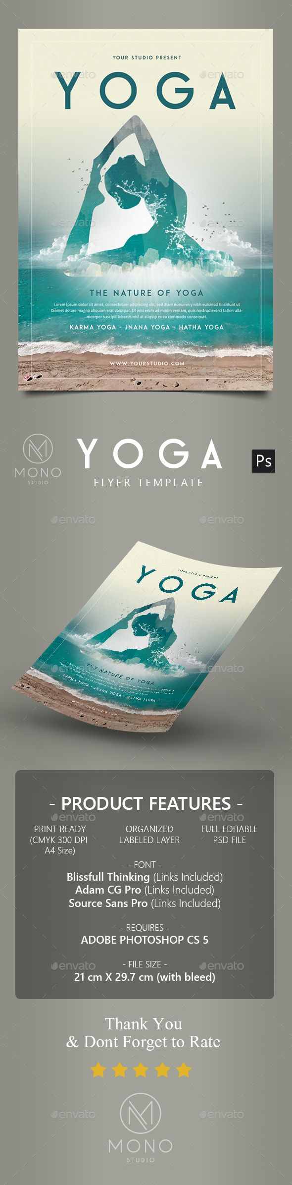 Yoga Flyer / Poster 2  #print #yoga #relax • Click here to download ! http://graphicriver.net/item/yoga-flyer-poster-2/16217019?ref=pxcr