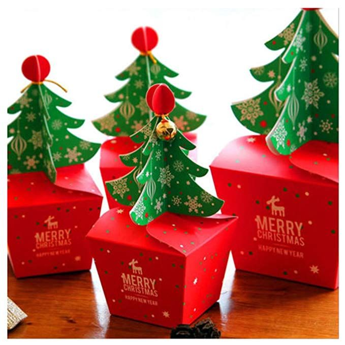 Rzctukltd 10pcs Christmas Party Paper Favour Gift Cupcake Xmas Sweets Carrier Bags Boxes Xmas Tre Christmas Gift Box Christmas Tree With Gifts Christmas Paper