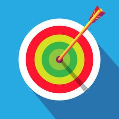 Target with arrow icon, blue background and shadow. Colorful winner vector illustration. Archery, award label, sport, kids sport background