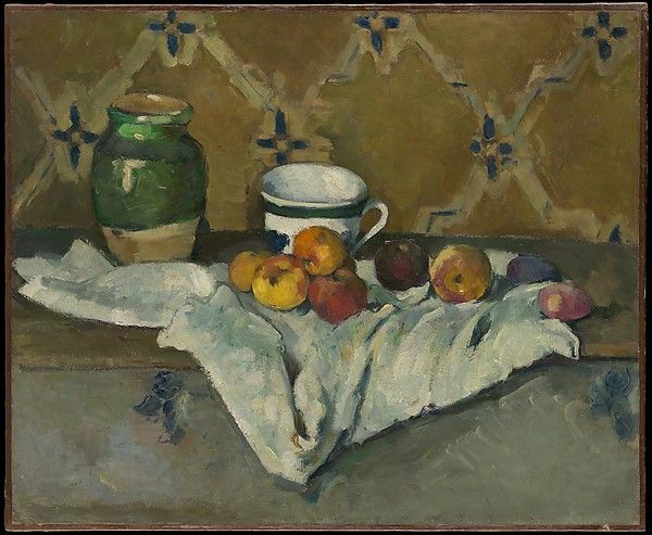 Paul Cézanne (French, 1839–1906). Still Life with Jar, Cup, and Apples, ca. 1877. The Metropolitan Museum of Art, New York. H. O. Havemeyer Collection, Bequest of Mrs. H. O. Havemeyer, 1929 (29.100.66) | In addition to apples—a favorite motif of Cézanne's—the ceramic jar and cup seen in this still life feature in numerous paintings by the artist.