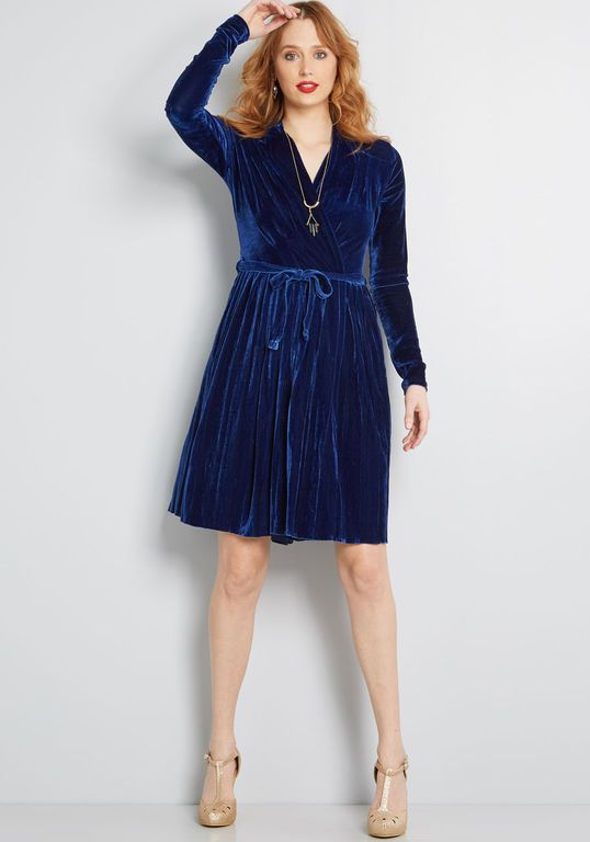 86eff748b3b First Impressions Pleated Velvet Dress | My Style | Dresses, Blue ...