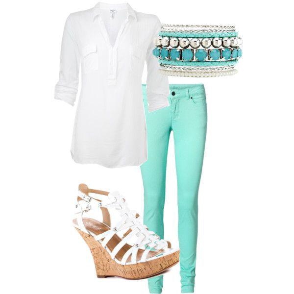 Now I wanna share with you some interesting outfit ideas, so let's look below and repeat some of them. T-Shirts And Classic Shirts. First of all, this color blends perfectly with white. You can put on a simple and classic white button down shirt, straight mint green pants and white sneakers.