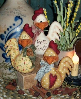 Primitive Chicken Ornies Bowl Fillers Pattern #331