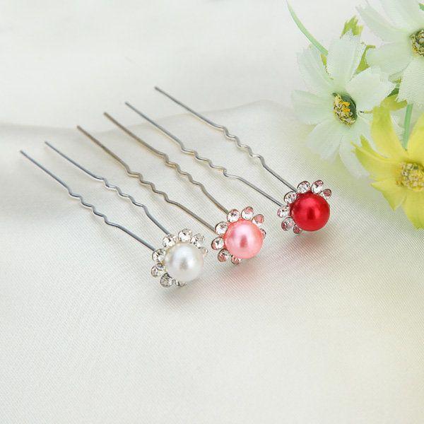 Bridal Headpieces Wedding Flaxen Hair Rhinestone Pearl Hairpins