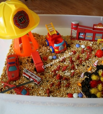 Firefighter Sensory Play-- You can use whatever theme you want. I used bugs at my house.