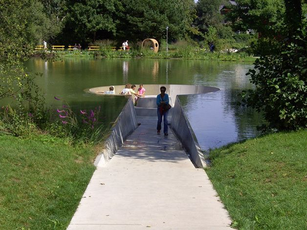anti-bridge.. meet or meditate in the middle of the lake!