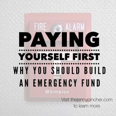 "Paying yourself first is when you take a percentage of your income and put it in your savings account or other designated account before you start paying your other bills. This is also referred to your ""emergency fund"" since it is only to be used in emergencies. It is important this account is actually only used for emergencies. Using a little here and a little there each month when you run short on spending cash does not constitute an emergency.  A shopping spree is not an emergency…"