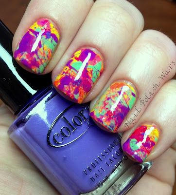 splatter mani how-toNails Design, Nails Colors, Polish Nails, Colors Club, Ties Dyes, Summer Nails Art, Splatter Nails, Nails Polish, Painting Nails