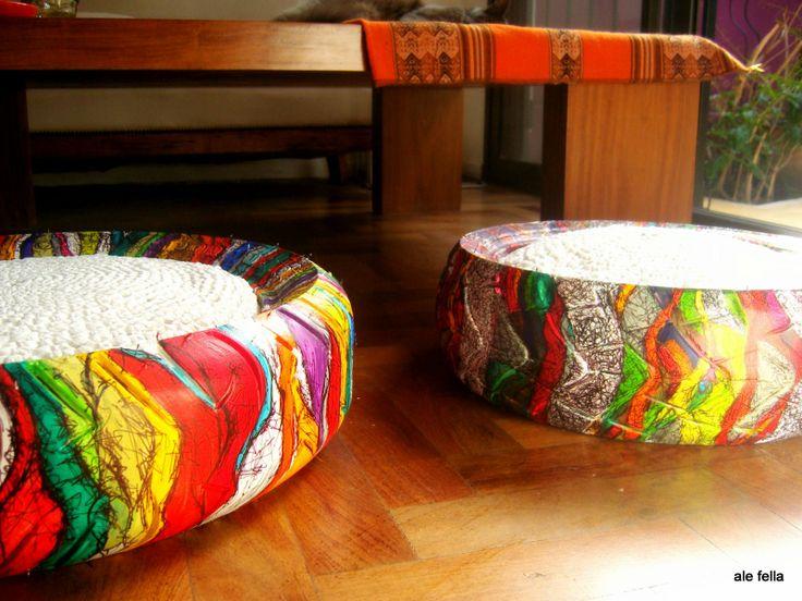 Eco -Diseño/ Pouf. Pouf realizados con neumaticos de camioneta, de auto y  de motos con almohadon reciclado tejido con bolsas de  plasticas. Pintado a mano./Eco-Design / Pouf.  Pouf made from tires of truck, car and motorcycle cushion recycled plastic woven bags. Hand painted.  https://www.facebook.com/168693243205110/photos/a.614107525330344.1073741856.168693243205110/614107998663630/?type=1theater