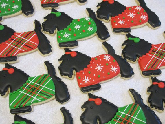 Christmas Scottish Terrier Scottie Dog Large Sugar Cookies - Holiday Party…