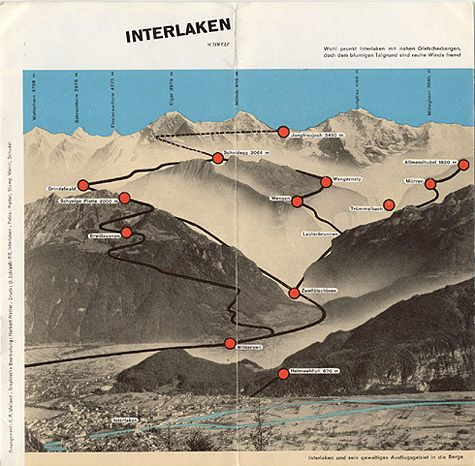 """Travel brochure Herbert Matter for """"Interlaken, Schweiz,"""" 1935 - View 2"""