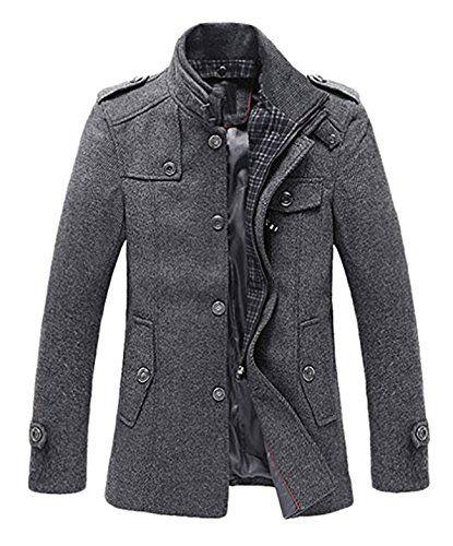 #Herren Trenchcoat Jacke Wollmischung Mantel Stehkragen Wintermantel Warme Wollmantel Reißverschluss,