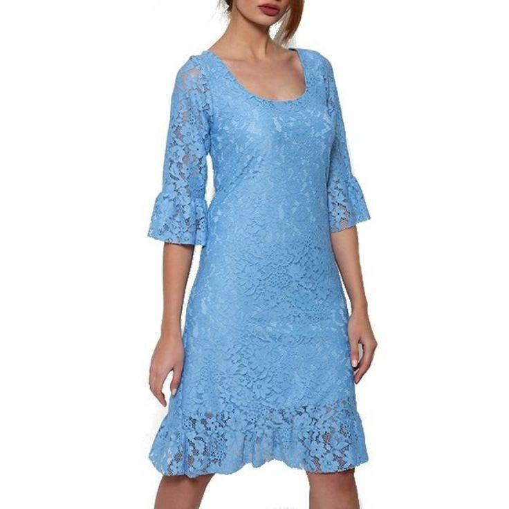 Φόρεμα Δαντέλα με Βολάν. Σύνθεση: (90% PE10%SPAN)