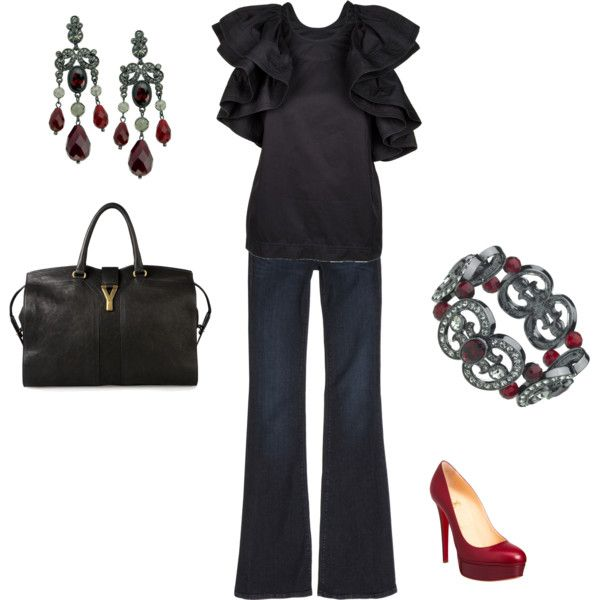 """Black Red Jeans Outfit"" by ggdesigns on Polyvore"
