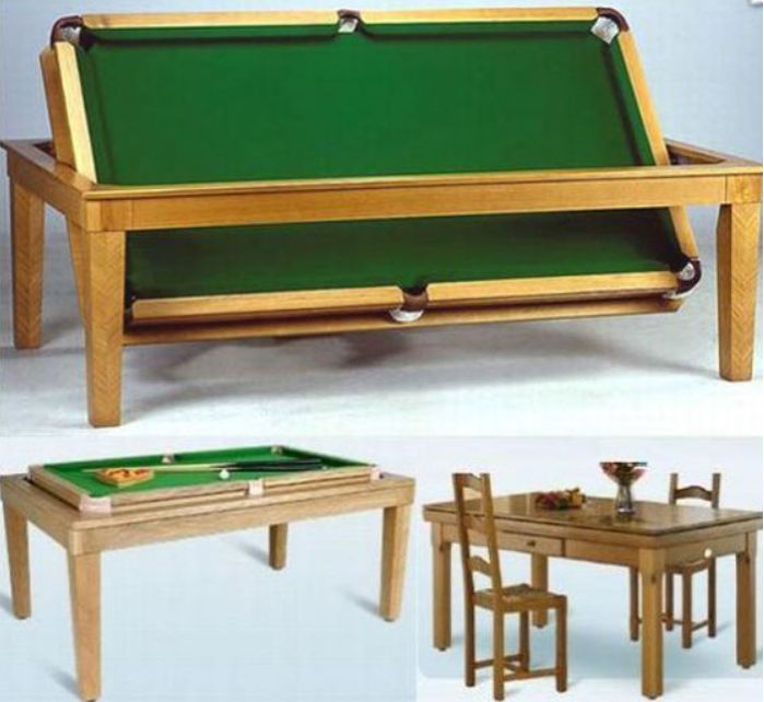 Convertible Dining/Pool Table.  I love this idea!  Then I could have a pool table!