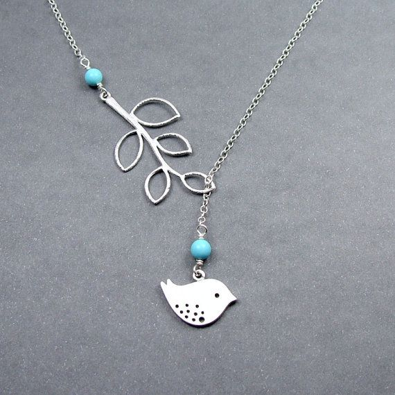 or this one, Turquoise Bird and Branch Lariat Necklace, Bird Jewelry Sterling Silver Chain  $26.50