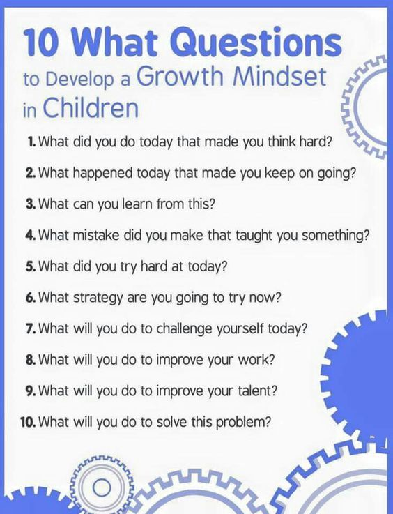10 questions to help children develop a growth mindset. IMAGE ONLY!