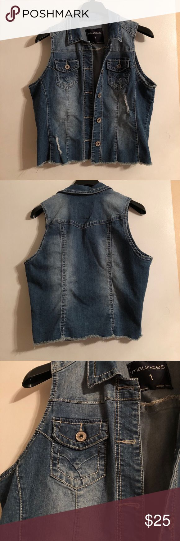 NWOT Maurices denim vest NWOT Maurices denim vest for sale! SZ: 1 (XXL) brand new, never worn! Medium wash with distressing throughout and fringe style bottom. 2 pockets on either side of chest area and 5 button closure. Lying flat: armpit to armpit approx. 21in and armpit to bottom hem 11.5in. Perfect for your fall wardrobe 🍁🍂 Maurices Jackets & Coats Vests