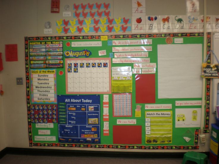 Math/Calender Wall - LOVE this BLOG! First grade ideas. Love CTP's Apple Chalkboard Border!
