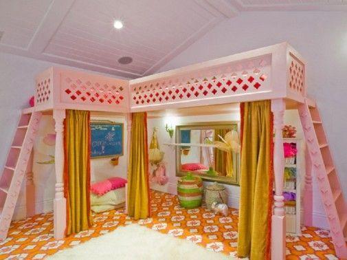Custom IKEA Loft Bedroom Ideas for Kids with Pink L Shape Bunk Beds