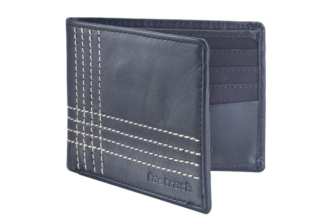 Leather Bi-fold wallet with contrast stitch and internal card slots. Wallets from Fastrack http://www.fastrack.in/product/c0309lbk01/?filter=yes=india=9=4&_=1334231927426