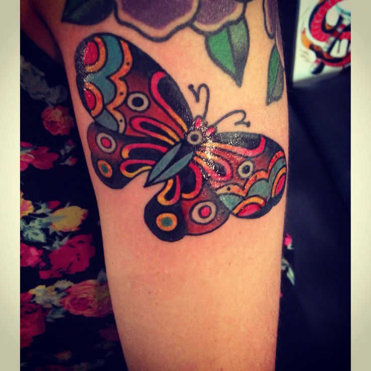 Traditonal butterfly tattoo done by nick filth hidden for New hampshire tattoo