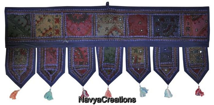 Vintage Indian Cotton Embroidered Window Valance Topper Toran Decor Door Hanging .  A fancy door toran that attracts & welcomes! This beautiful handmade toran is one of the finest Indian wall hangings that you can now online order at very reasonable price. Color combination is just perfect to attract any eye plus at the end of each decorative line it holds beautiful small tassels that make this toran overall amazing.